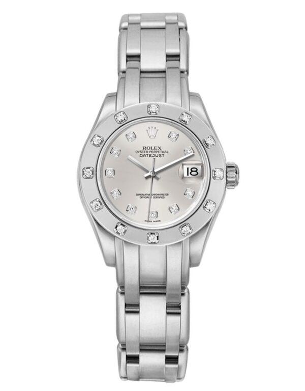 Rolex Pearlmaster 80319 18 Karat Weißgold Silber Zifferblatt 28MM