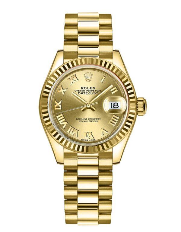 Rolex Datejust 279178 18 Karat Gelbgold Champagner Zifferblatt 28MM Gehäuse