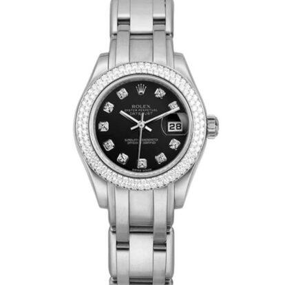Rolex Pearlmaster 80339 18 Karat Weißgold Schwarz Zifferblatt 28MM