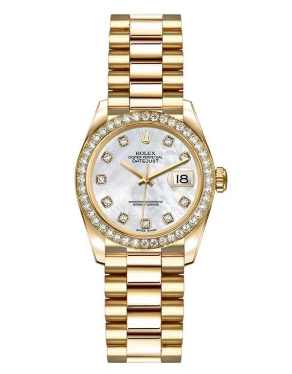 Rolex Datejust 179138 18 Karat Gelbgold Perlmutt Weiß Zifferblatt Set mit Diamanten 26MM Gehäuse
